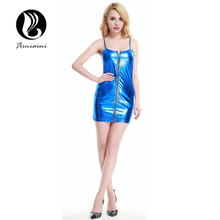 M-XXXL Plus Size Sling Faux Leather Lingerie Dress+thong Dancewear Nightclub Sex Clothing Lenceria Erotica Mujer Sexi Hot YY23