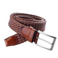 Hot Sale Cotton Leather Cross Knitted Mens Brown Belts For Jeans Free Shipping Male Weave Belt
