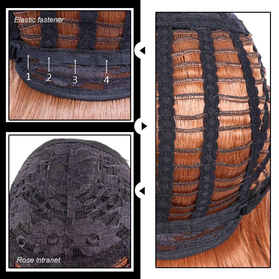 AliLeader 26 pulgadas de largo cuerpo onda pelo resistente al calor pelucas sintéticas mujeres pelo Cosplay partido Bob peluca púrpura marrón medio