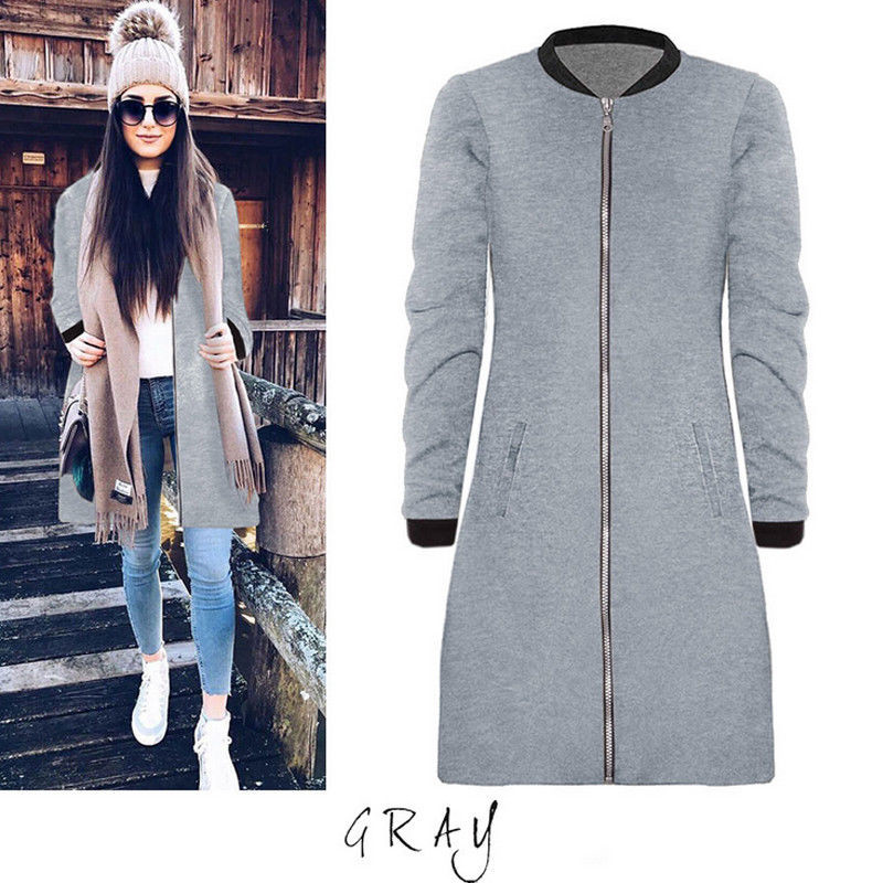 Womens Winter Slim Solid   Trench   Cardigan 2017 Female Casual Zipper Coat long coat Clothes