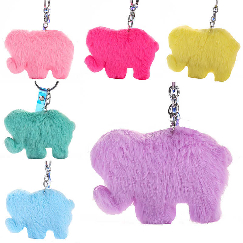 Moda Plush Pompons Coloridos Elefante Chaveiro Mulheres Bolsa Pingente Multicolor Bonito Chave Do Carro Pingente de Chave Da Cadeia de Jóias