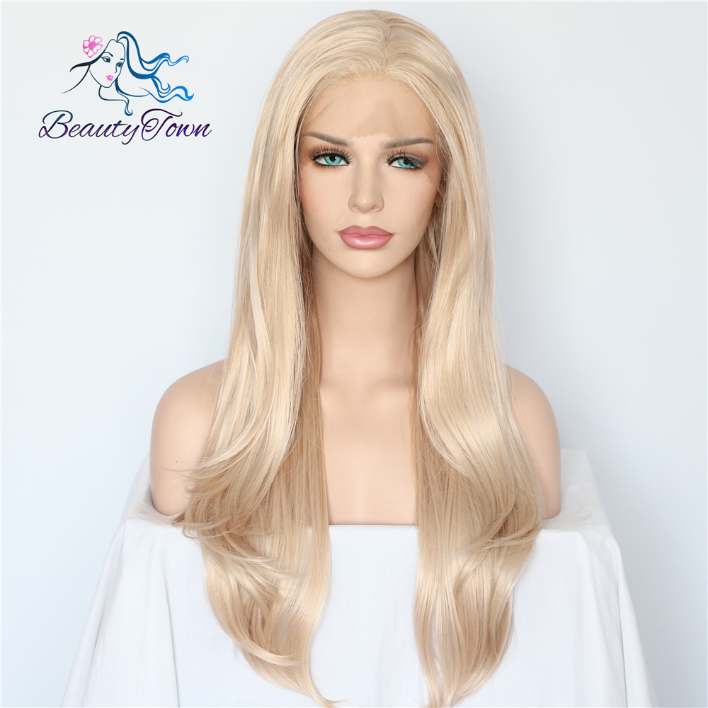Image 2 - BeautyTown Blonde Beige Natural Wave Heat Resistant Hair White Women Daily Makeup Wedding Party Gift Synthetic Lace Front Wigs-in Synthetic Lace Wigs from Hair Extensions & Wigs