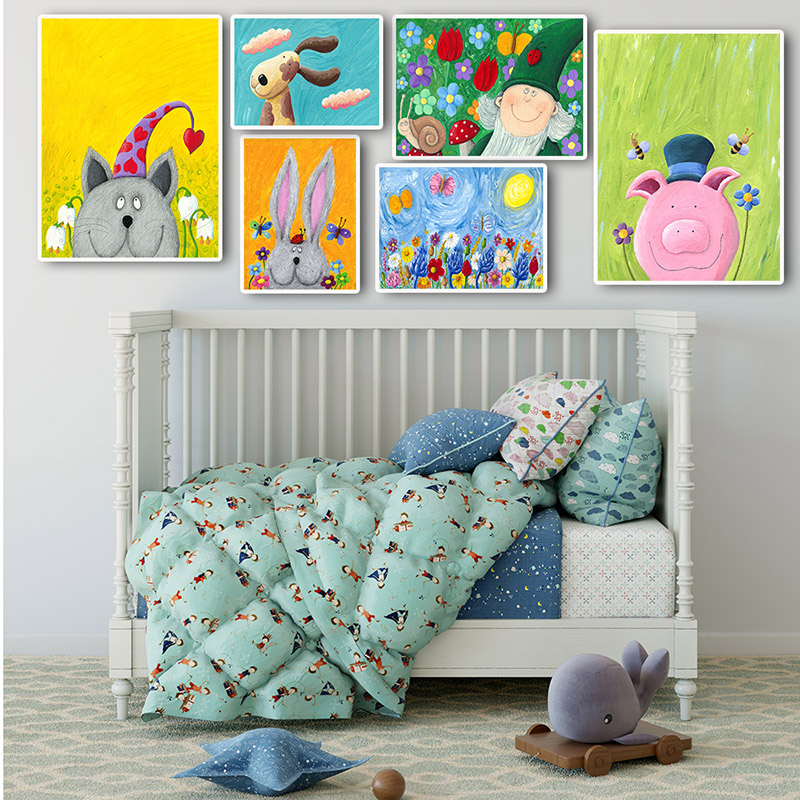 Nursery Art For Children Kids Wall Art Baby Girl Nursery Baby: Children Cartoon Poster Cartoon Wall Art Canvas Print