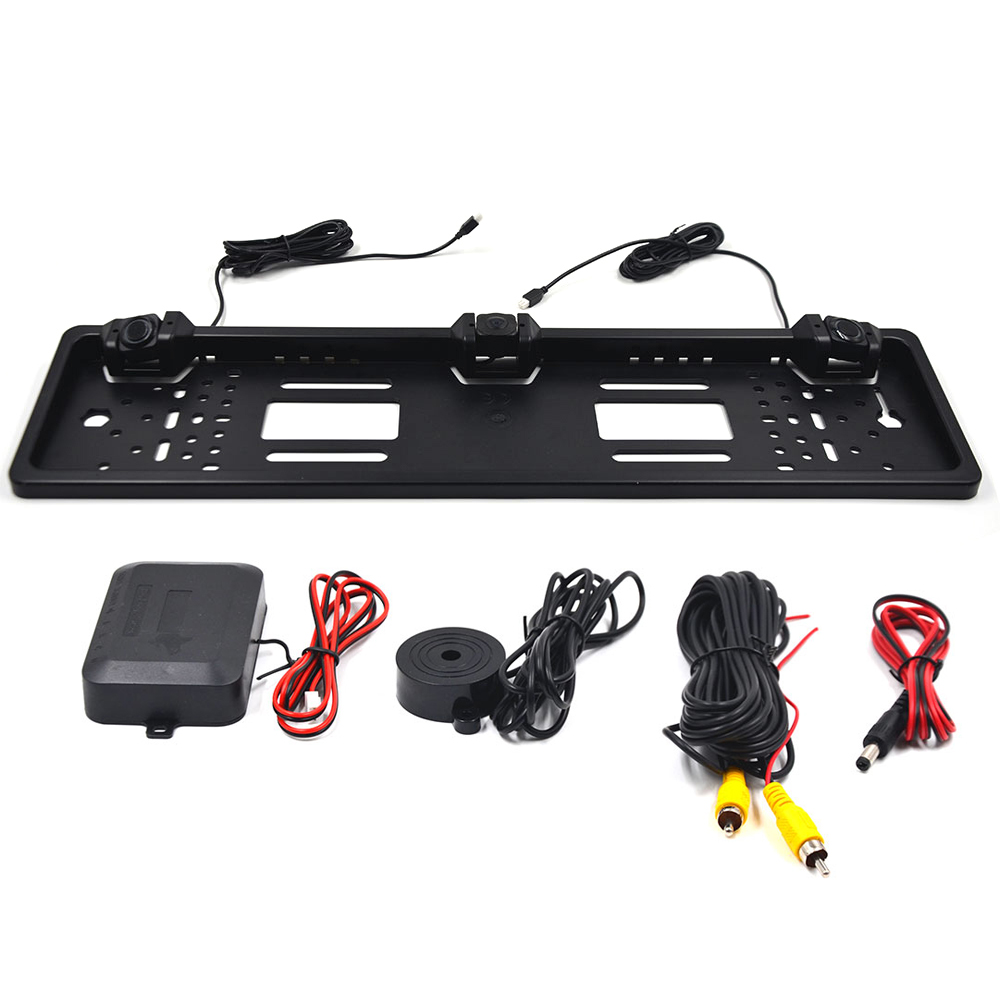 KKMOON 1PC 3 In 1 EU HD Night Vision  License Plate Frame Backup Camera Rear View Camera With Parking Sensor System Accessories