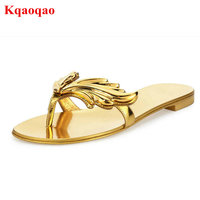 Sapato Feminino Silver Metallic Leather Angel Winges Women Thong Slides Leaves Flats Slippers Cruel Summer Casual