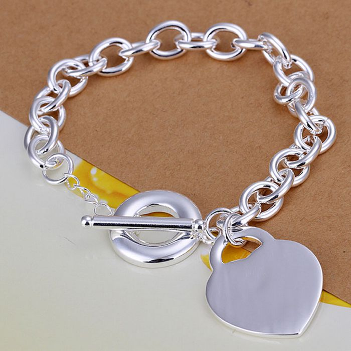 fine summer style silver plated bracelet 925-sterling-silver jewelry bijouterie heart chain bracelets for women men