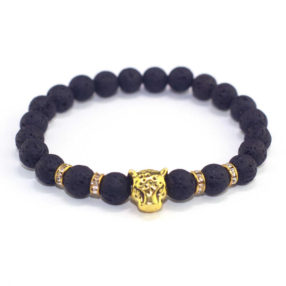 Naturstein Perlen Männer Armbänder Glück Charme Matte Schwarz Natürliche Stein Perlen Onyx Stein Matt Tiger Leopard Armbänder für Männer