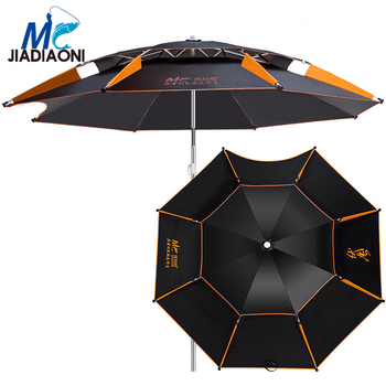 JIADIAONI 2m Black Rubber Cloth Outdoor Double deck Adjustable Ultraviolet-proof Sun Umbrella Large Fishing Umbrella Accessories фото
