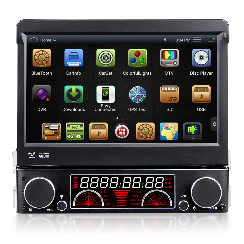 Quad Core Android 4.4 HD 1 din 7″ Universal Car audio Car dvd gps With Car PC 3G WIFI Radio Bluetooth IPOD TV DVR Built-in 16GB
