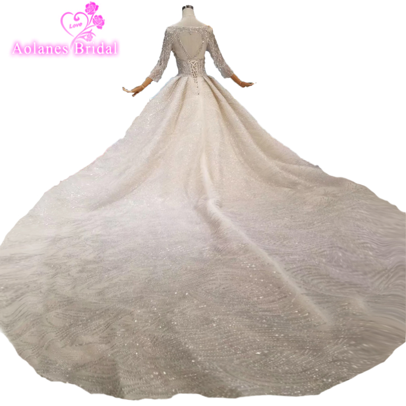 Lace Wedding Dresses Long 2019 Ball Gown Pearls Long Sleeves Country Western Weddingdress China Bridal Gowns Weeding Dresses