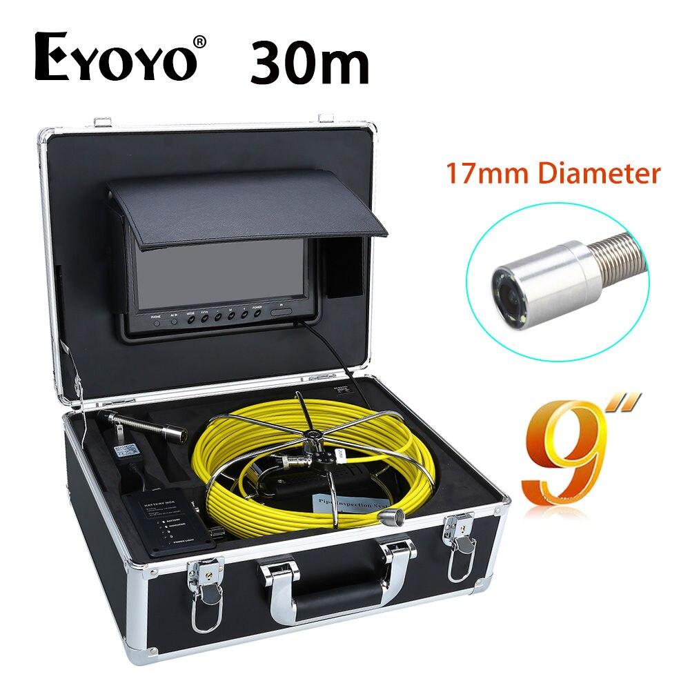 Eyoyo WP90B 30M 9 LCD CMOS 1000TVL HD 17mm Pipe Pipeline Drain Inspection Sewer Video Camera CCTV Snake Inspection Sun shield