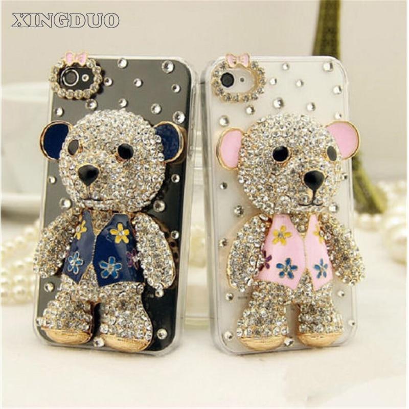XINGDUO Luxury Bling Lovely Bear Rhinestones Diamonds Hard Case Cover For Iphone 7 7Plus 6 6S