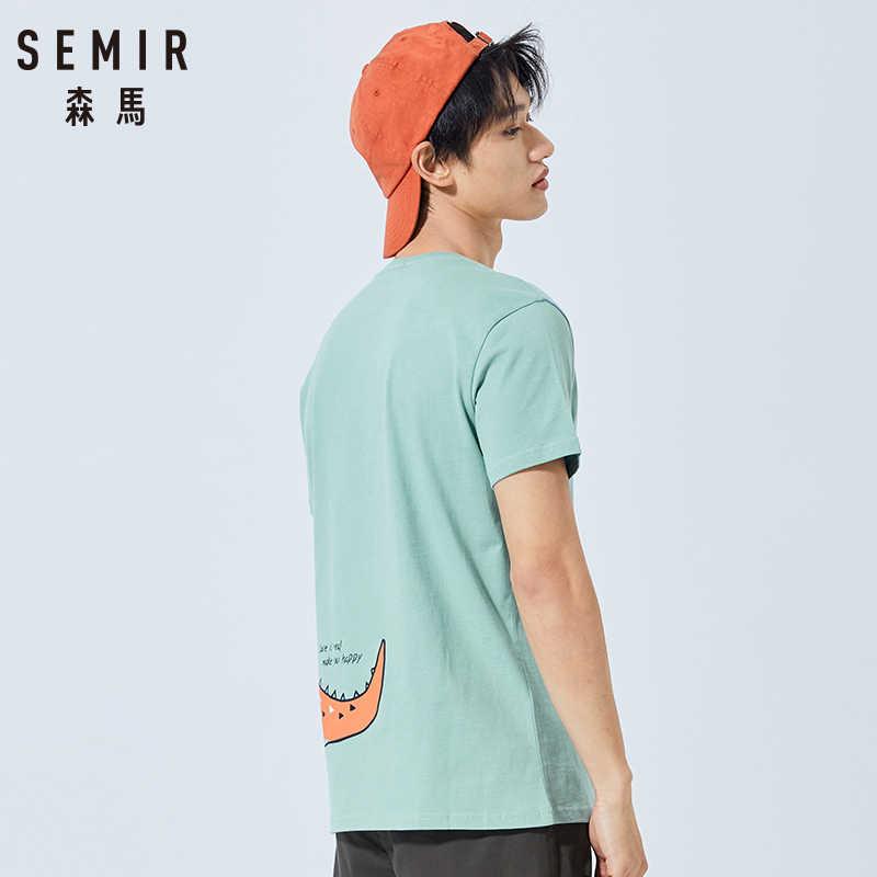 SEMIR Повседневная модная летняя крутая Мужская футболка крутая свободная уличный стиль 100% хлопок короткий рукав мужская футболка Топы
