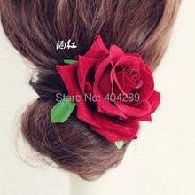24 шт./партия высококачественная искусственная бархатная Роза цветок брошь заколки для волос Свадебная вечеринка женская цветочная Вуалетка для волос