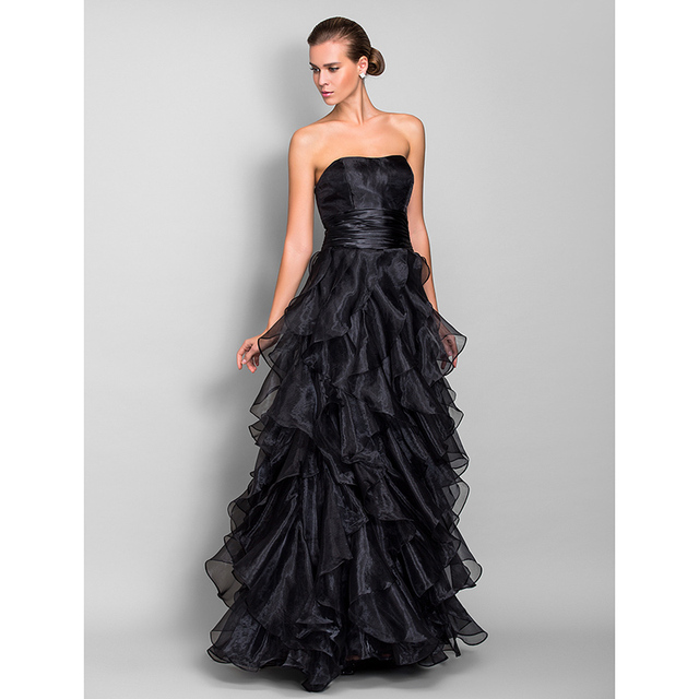 TS Couture A Line Sweetheart Floor Length Organza Prom Formal ...