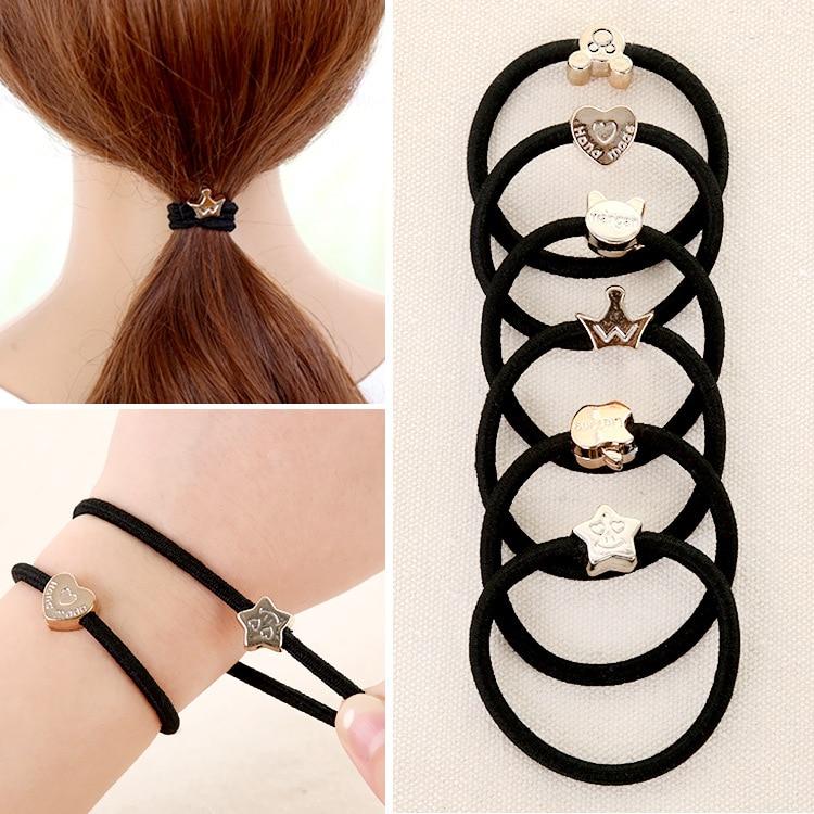 50pcs/lot Hair Accessories Hair Band Leather Hood   Headwear   High Elastic Black Tie Hair Cowhide Rubber Kid Girl Woman Hair Rope