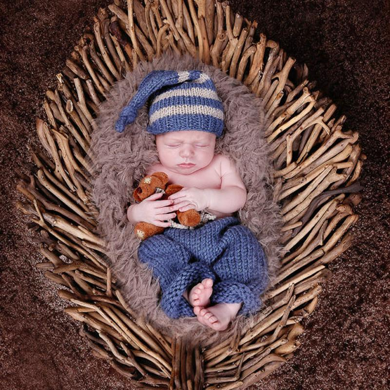 Newborn Baby Photography Props Infant Knit Crochet Costume Blue Striped Soft Outfits Beanie+ Pants Baby Shower Gift