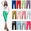 Nova moda feminina Ladies Slim Fit Skinny estiramento curto 3/4 lápis calças Jeans calças Lum frete grátis