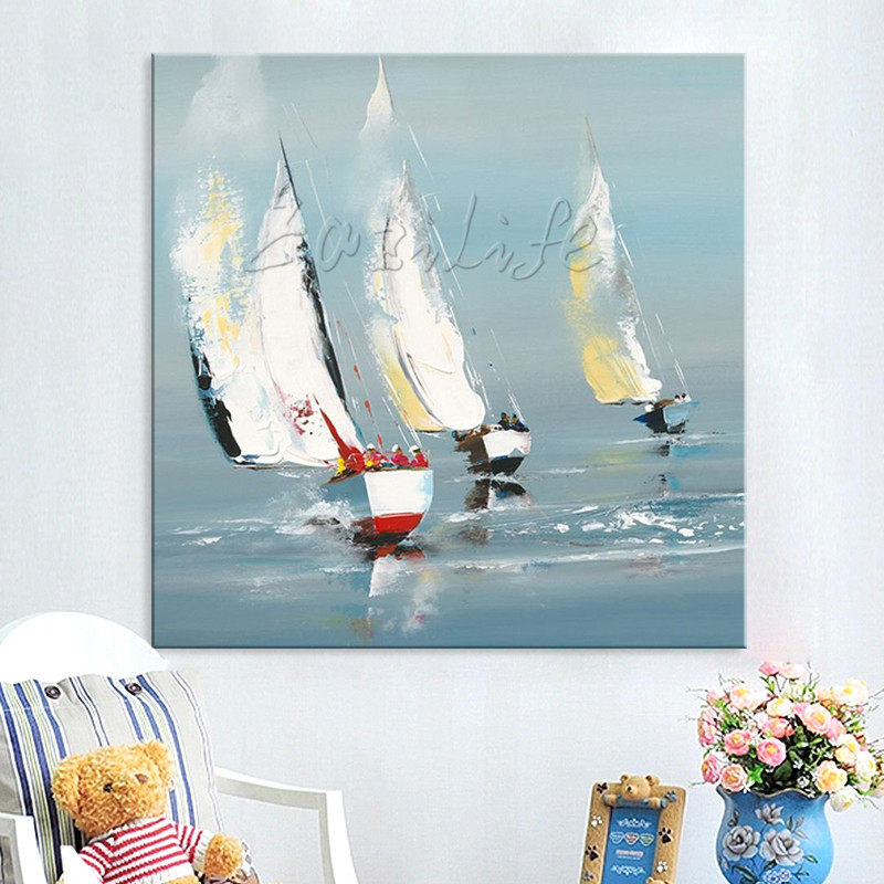 Quadro <font><b>boat</b></font> ship Yacht sailing <font><b>knife</b></font> oil painting cuadros abstractos moderno abstract painting Wall art Pictures for dining room image
