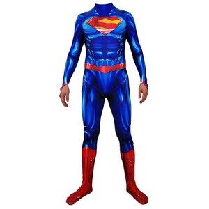 Image 4 - Adult Men Superman Clark Kent Cosplay Costume Zentai Superhero Bodysuit Suit Jumpsuits Cloak