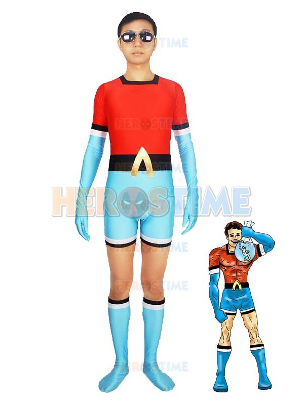 The 1st Aqualad Garth Costume halloween cosplay adult Blue & Red Spandex Superhero costumes zentai suit hot sale