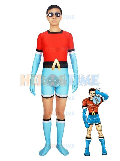 the 1st aqualad garth costume halloween cosplay adult blue red spandex superhero costumes zentai suit