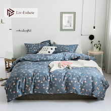Liv-Esthete Fashion Flower 100% Cotton Bedding Set Gray Duvet Cover Pillowcase Flat Sheet Double Queen King Bed Wholesale