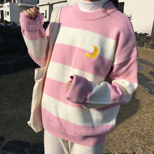 Women's Sweaters Kawaii Ulzzang College Candy Color Stripes Moon Sets Embroidery