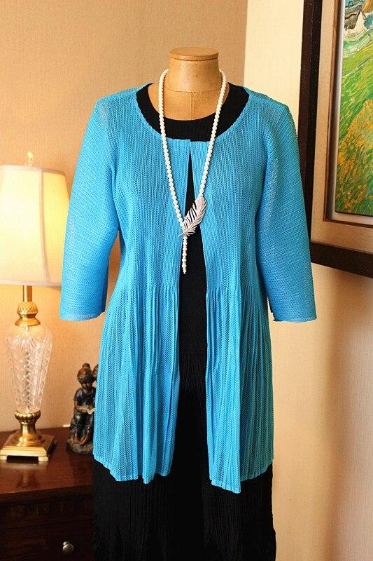 Femmes Miyake Bleu Pu Manteau Taille Gratuite Nouveau Froissé Grande À Ciel Maille Plissée Style Slim De Sept Manches Livraison Sous vêtements rqn8twrH