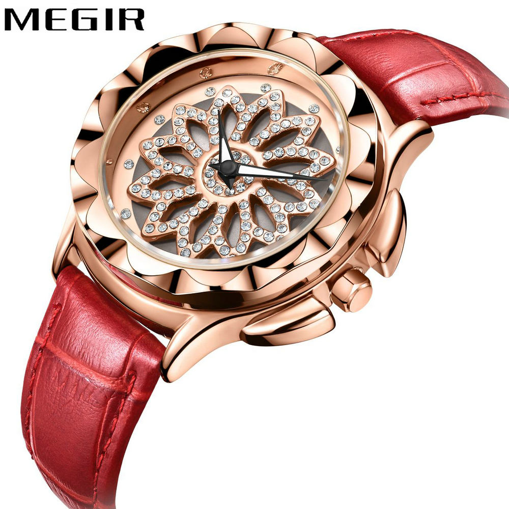 MEGIR 2018 New Fashion Women Watches Top Brand Luxury Quartz Clock Rose Golden Floral Rhinestone Dial Elegant Ladies Wrist Watch dwg brand new wooden watch japan quartz movement rhinestone ladies fashion brown wrist watches women cherry wood clock with box
