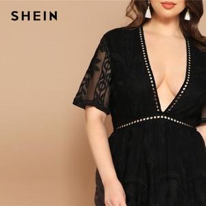 Image 5 - SHEIN grande taille noir oeillet dentelle Insert col plongeant maille superposition robe 2019 femmes été glamour profond col en V taille haute robe