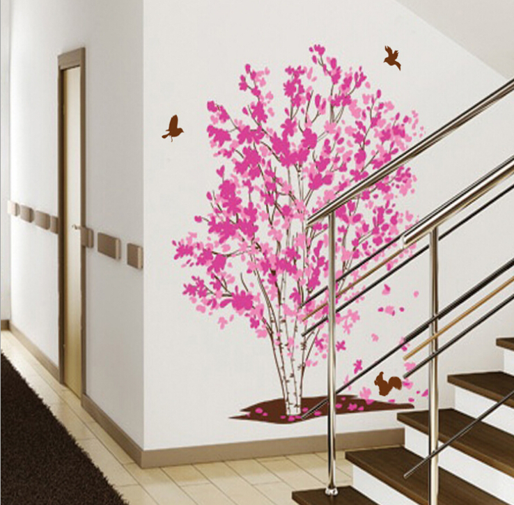 New Pink Cherry Blossom Tree Birds Wall Decal Stickers Vinyl Wallpaper Home Living Room Decor In From Garden On Aliexpress