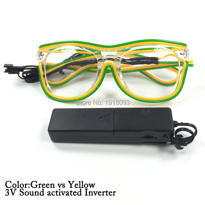 2017 New style Fairy Lights Double Color 3 Style EL Wire Flashing Sunglasses Powered by2-AAA Festival Cold Light Glasses