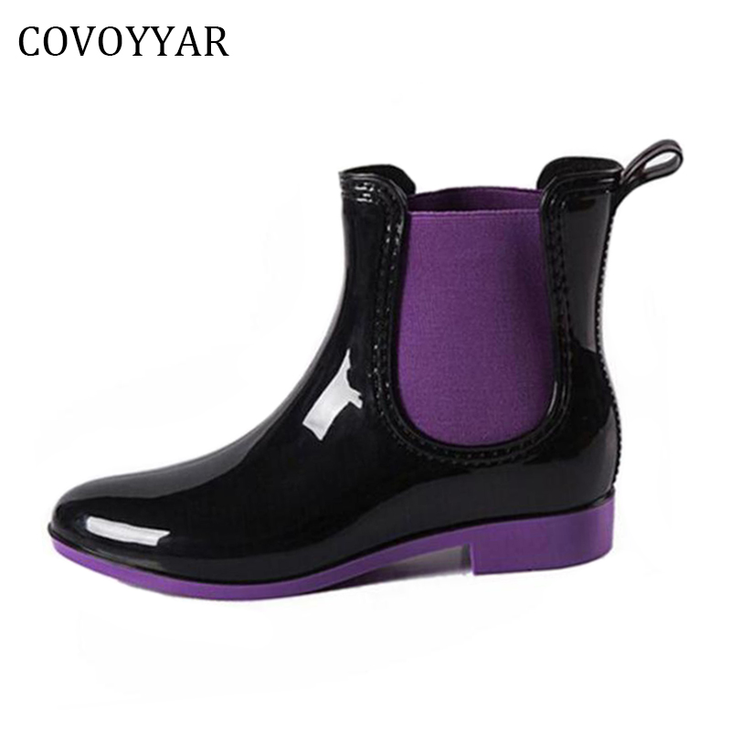 COVOYYAR 2018 Women's Waterproof Ankle Rain Boots Autumn Winter Rubber Rainboots Booties Fashion Elastic Band Woman Shoes WBS237 free shipping fashion madam featherweight rubber boots rainboots gumboots waterproof fishing rain boots motorcycle boots
