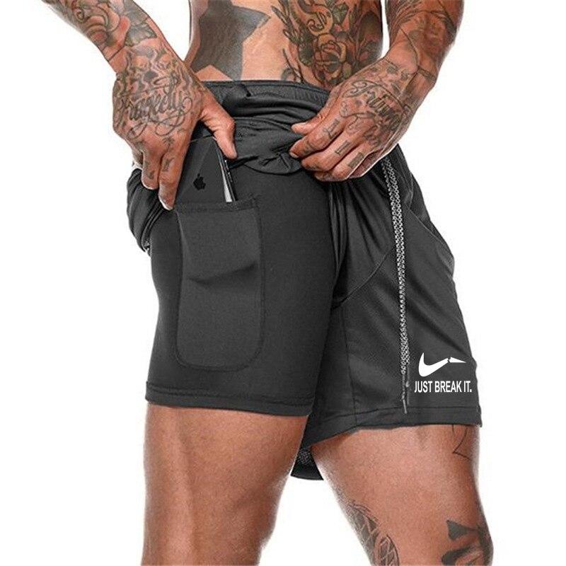 New Summer Quick Drying Running Shorts Men's 2 In 1 Security Pocket Shorts Men Leisure Shorts Zipper Pockets Built-in Pockets