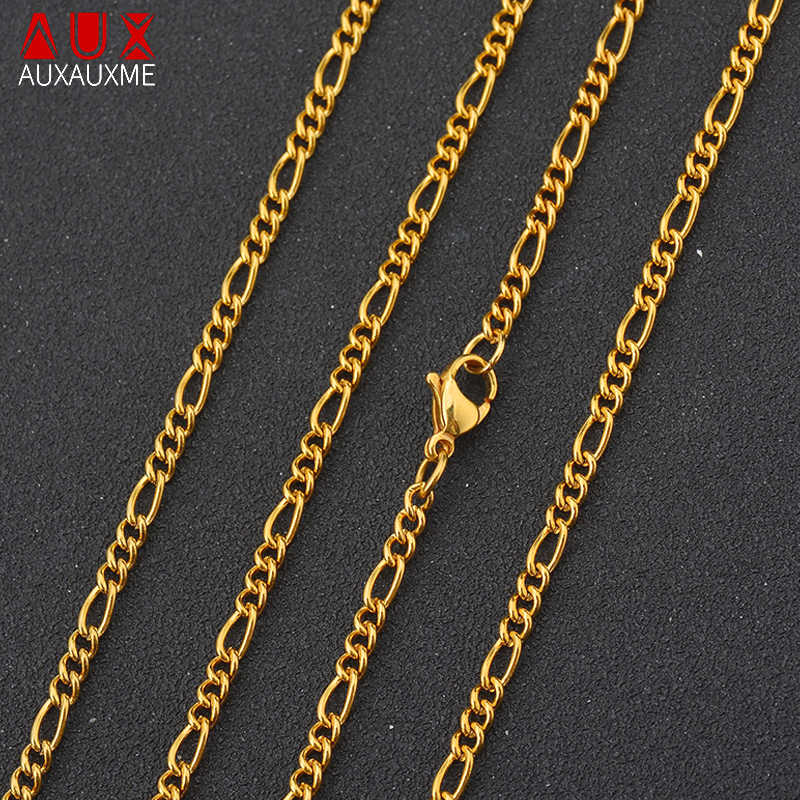 Auxauxme Rock złoty wypełniony 316L naszyjnik ze stali nierdzewnej łańcuch Figaro łańcuszki na szyję 3:1 długi łańcuch naszyjnik dla kobiet mężczyzn Party prezent