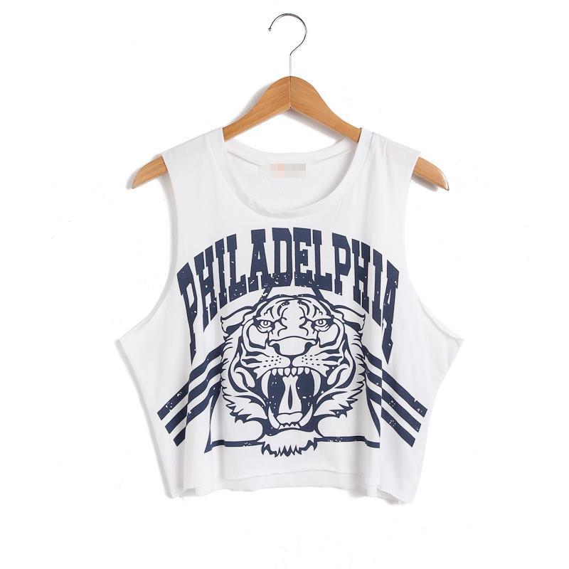 Summer Harajuka Women Tank Tops Tiger Philadelphia Letter Printing Loose Cotton Casual Femme Crop Top Unisex Camisole