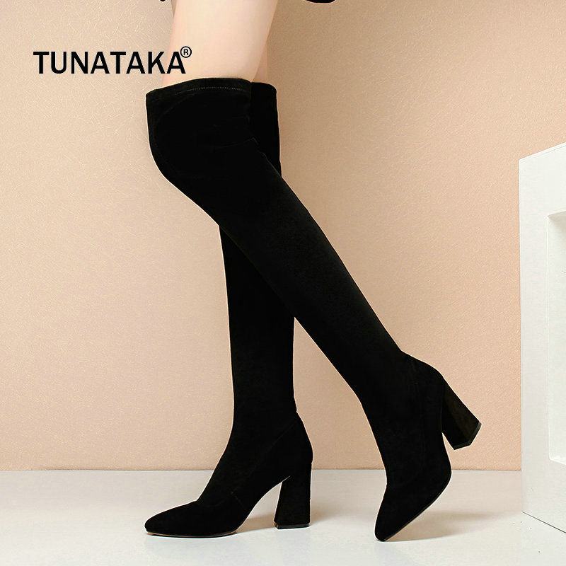Suede Hoof High Heel Woman Over The Knee Stretch Boots Fashion Slip On Party Thigh Boots Woman Balck Brown slip on winter boots stretch lycra