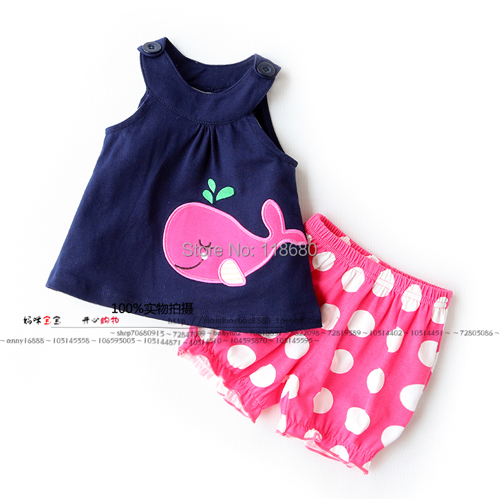 New arrival 2014 baby & kids clothes sets baby girls fashion vest t-shirts + child dot shorts sets baby casual summer suit 6 size new 2014 summer baby