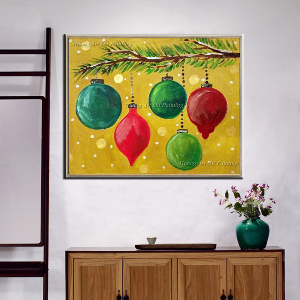 Hand Painted Abstract Painting on Canvas Christmas Lamp Decoration ...