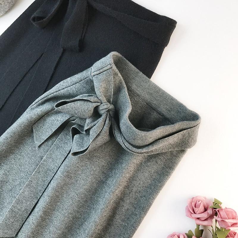 344 water velvet knit skirt women 2018 autumn and winter new women's long section high waist bag hip split A skirts 19