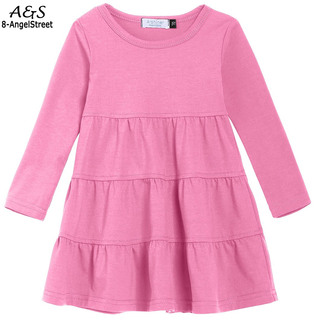 Kid Girls Ball Gown Dress Winter Autumn Tiered Dress Cute Cotton Casual Soft Long Sleeve Knee Length Dress O-Neck 5 Colors tiered flutter sleeve top