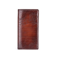TERSE_Hot sale genuine leather long wallet mens business handmade purse with engraving in 4 colors luxury leather purse OEM ODM