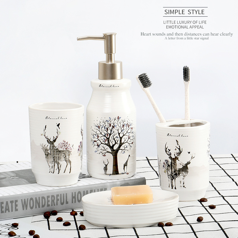 Houmaid Bathroom Creative White Ceramic Toothbrushes Storage Holder Toilets Hand Liquid Soap Dispenser Sets Soap Rack Shower image