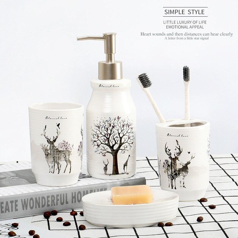 Houmaid salle de bains créative en céramique blanche brosses à dents support de stockage toilettes main liquide savon distributeur ensembles porte-savon douche