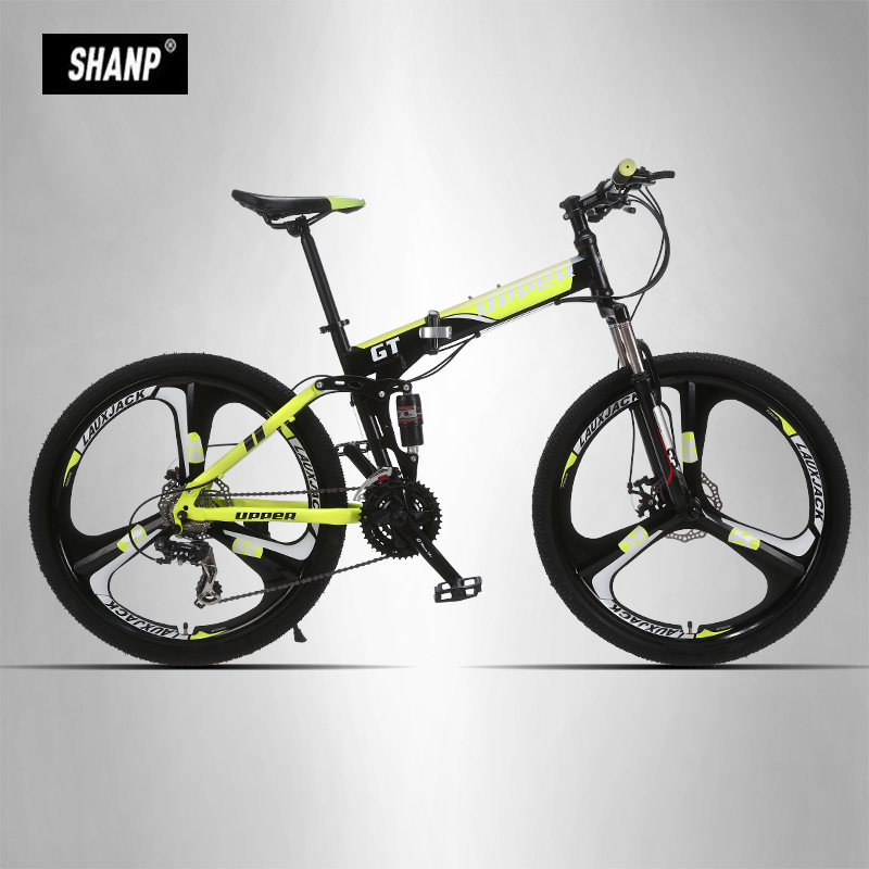 UPPER Mountain Bike Foldable Steel Frame Mechanical Disc Brake 24 Speed Shimano 26 Alloy Wheel 3 Spokes 26 32 holes disc brake mountain bike wheel alloy cassette ball hubs wheel suitable for 7 8 9 speed mountain bike accessories