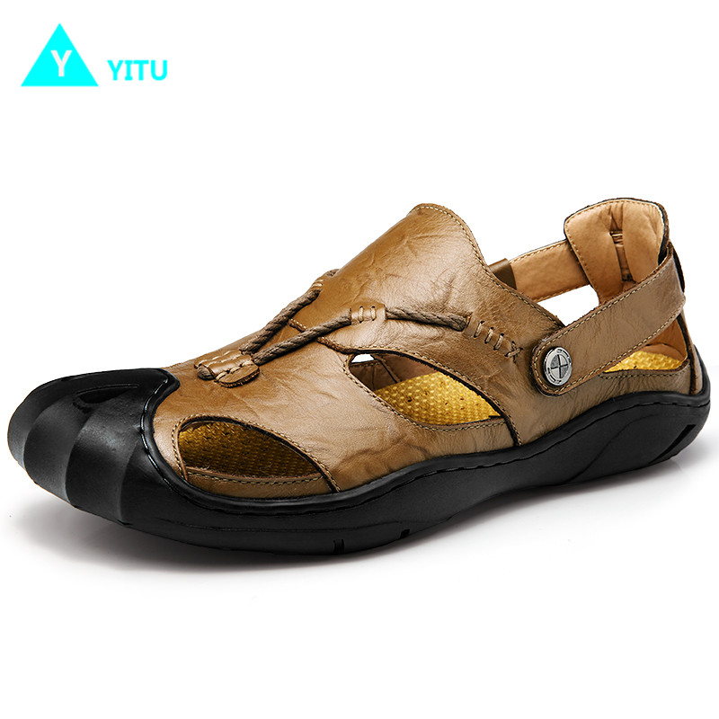 YITU Summer Men Sandals Genuine Leather Sandals For Men Outdoor Breathable Beach Sandals Men Antiskid Comfortable Male Sneakers
