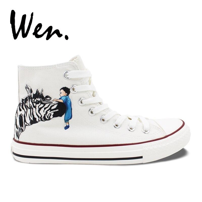 Besorgt Wen Männer Frauen Handgemalte Schuhe Design Custom Zebra-weiß High Top Canvas Sneakers Tier Graffiti Malerei Geschnürt Plimsolls Dauerhafte Modellierung