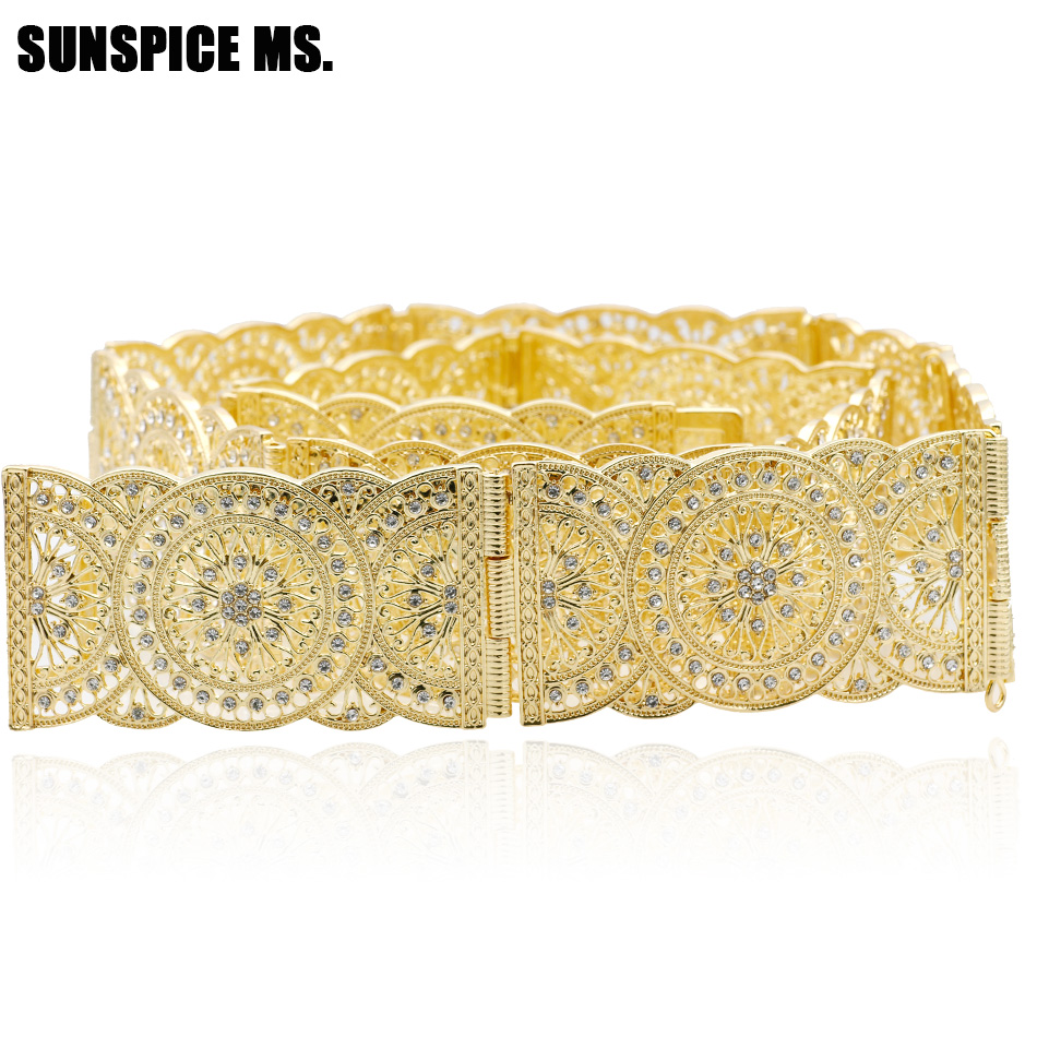 SUNSPICE MS Gold Silver Color Round Flower Metal Waist Chain Belt For Women Wedding jewelry Morocco