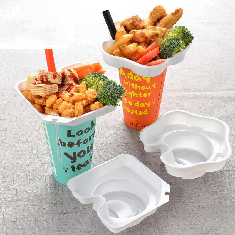 Disposable Flower Shape Snack Holder On Cup Creative Steak Bowl Cola Cup Holder Fried Food Tray Popular Take-out Tools 50pcs/Set